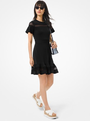 MICHAEL Michael Kors Crepe Jersey and Mesh Ruffled Dress
