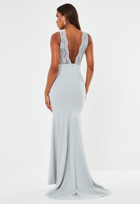 Missguided Grey Lace Insert Low Back Fishtail Maxi Bridesmaid Dress