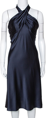 Diane von Furstenberg Midnight Blue Stretch Silk Halter Neck William Dress M