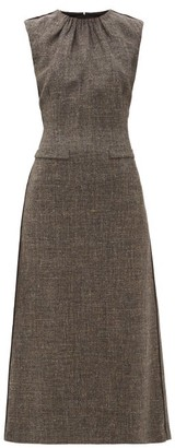 Carl Kapp - Crested Sleeveless Wool-blend Tweed Midi Dress - Womens - Brown Multi