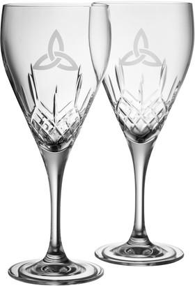 Belleek Pottery Trinity Red Wine Glass Pair