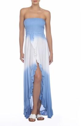 BOHO ME Tie-Dye Strapless Ruffle High/Low Maxi Dress