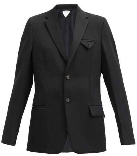 Thumbnail for your product : Bottega Veneta Single-breasted Grain-de-poudre Wool Jacket - Black
