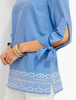Talbots Tie-Sleeve Embroidered-Eyelet Contrast-Border Tunic