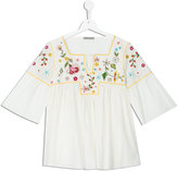 Ermanno Scervino embroidered flower blouse - kids - Cotton/Viscose/glass - 14 yrs