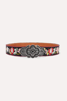 Etro Embellished Embroidered Faille And Leather Waist Belt - Black