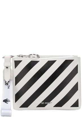 Off-White Stripe-Print Leather Clutch