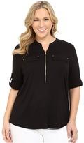 Calvin Klein Plus - Plus Size Zip Front Roll Sleeve Women's Blouse