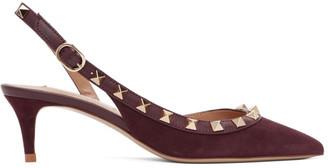 Valentino Burgundy Valeninto Garavani Rockstud Slingback Heels