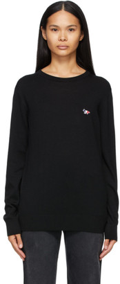 MAISON KITSUNÉ Black Wool Tricolor R-Neck Sweater