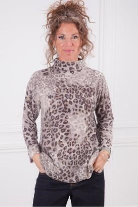 Kinross Leopard Funnel Neck Sweater - Medium