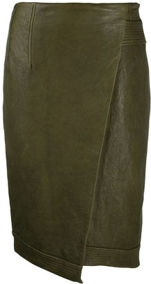 Veronica Beard Fitted Lambskin Midi Skirt