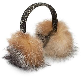 Surell Tweed & Sequin Dyed Fox Fur Earmuffs