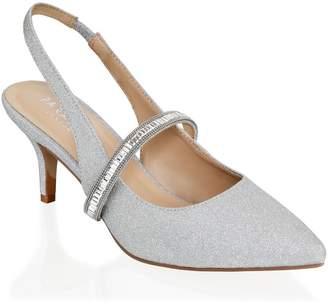 Linzi Paradox London Petunia Silver Low Heel Crystal Strap Slingback Shoes