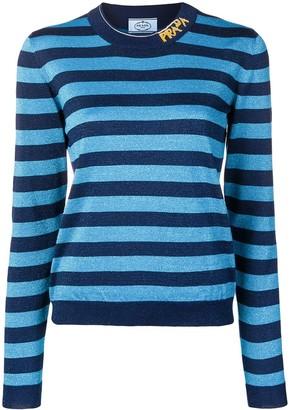 Prada striped logo knit sweater