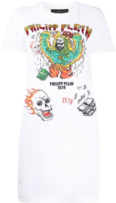Philipp Plein graffiti-print T-shirt dress
