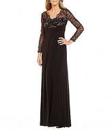 Marina V-Neck Illusion Sleeve Ruched Front Gown