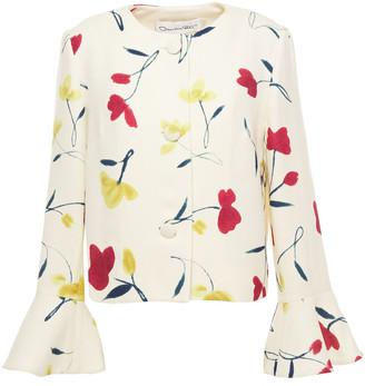 Oscar de la Renta Fluted Floral-print Wool-twill Jacket