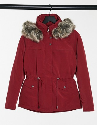 Only Starline short parka coat in red