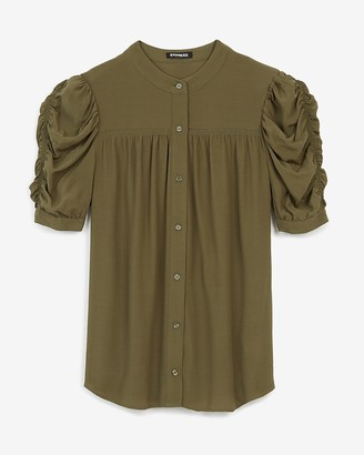 Express Ruched Sleeve Button Front Shirt