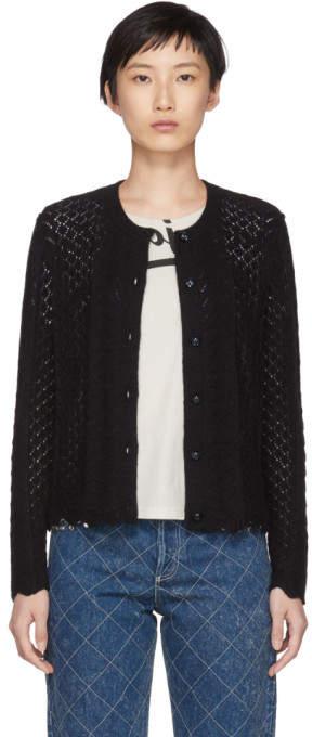 Marc Jacobs Black Bracelet Sleeve Cardigan