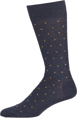 Marcoliani Milano Men's Dot-Pattern Cotton Socks