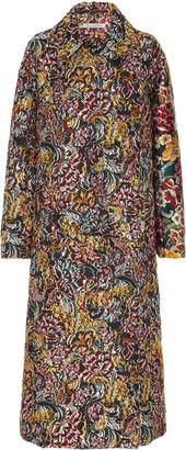 Oscar de la Renta Floral Brocade Pointed Collar Coat