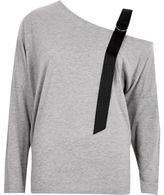 River Island Womens Grey contrast cold shoulder strap top