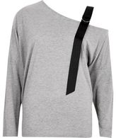 River Island Womens Grey jersey adjustable cold shoulder top