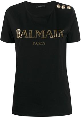 Balmain logo button-embellished T-shirt
