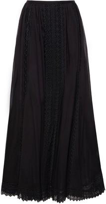 Charo Ruiz Ibiza Vega Crocheted Lace-paneled Cotton-blend Voile Maxi Skirt