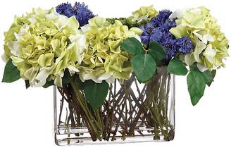 """One Kings Lane 21"""" Cornflower & Hydrangea Arrangement - Faux - arrangement, blue/green/multi; vessel, clear"""