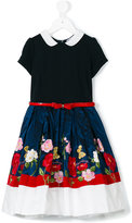 MonnaLisa floral embroidered belted dress - kids - Polyamide/Polyester/Acetate/Viscose - 6 yrs