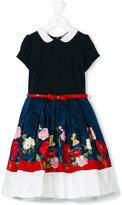 MonnaLisa floral embroidered belted dress - kids - Viscose/Polyamide/Acetate/Polyester - 4 yrs