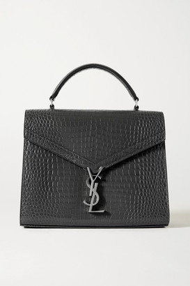 Saint Laurent Cassandra Medium Croc-effect Leather Tote - Dark gray