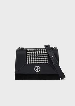 Giorgio Armani Leather Shoulder Bag With Studded-Houndstooth Motif