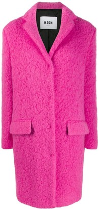 MSGM Textured Single Breasted Coat