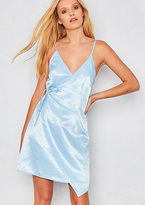 Missy Empire Kerri Blue Wrap Round Silky Mini Dress