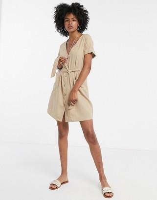 Vila tie waist mini dress in tan