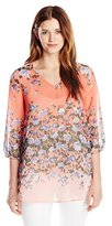 NY Collection Women's Printed 3/4 Sleeve V Neck Blouse Floral Blouse