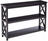 Pilaster Designs Black Wood Contemporary X-Design Storage Entryway Console Table