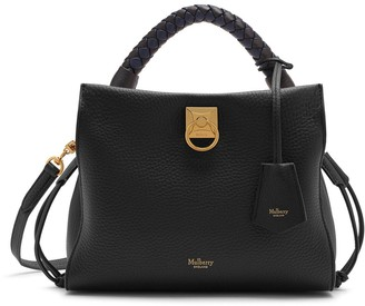 Mulberry Small Iris Black Heavy Grain and Silky Calf with Midnight-Black handle
