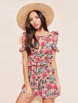 For Love & Lemons Churro Romper in Pink Flamenco