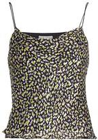 Alice + Olivia Harmon Drapey Print Chiffon-Silk Slip Tank Top