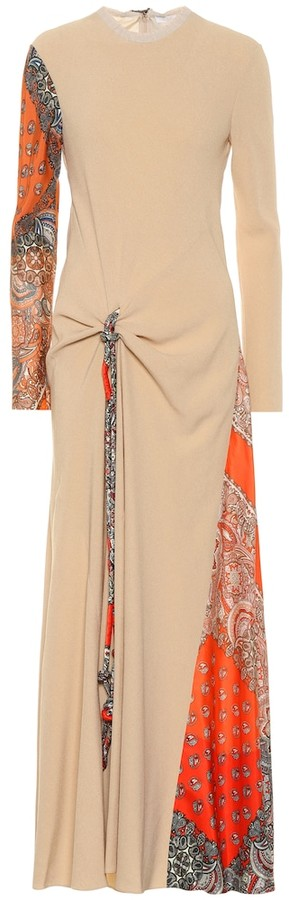 Chloé Crepe and silk-twill maxi dress