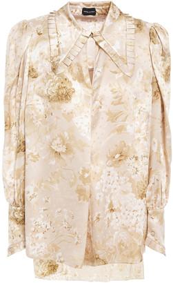Magda Butrym Zurich Pleated Floral-print Silk-chiffon Blouse