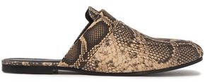 IRO Soko Studded Snake-effect Leather Slippers
