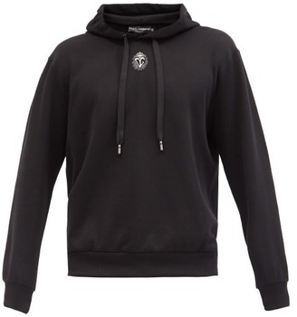 Dolce & Gabbana Logo-embroidered Cotton-jersey Hooded Sweatshirt - Black