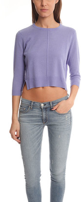 Blue & Cream Blue&Cream Crop Crewneck Sweater