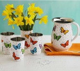 Viva Terra Butterfly Enamel Pitcher and Cups